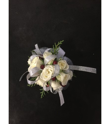 white berry corsage