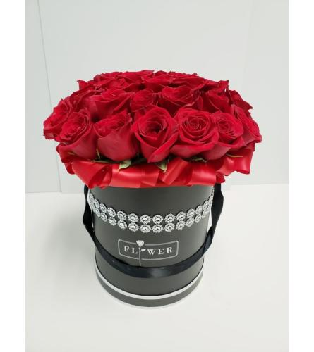 Red Roses in a Black Couture Box