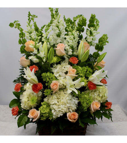 Peach, Coral & White Sympathy Basket