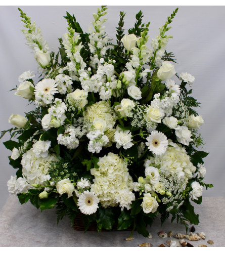 Select White Seasonal Flower Basket