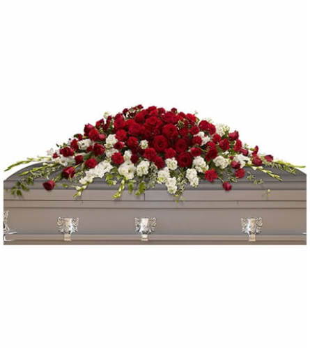 Red Rose And Snapdragon Casket Spray
