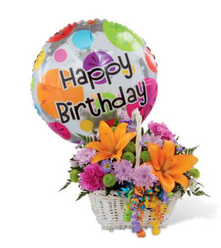 Happy Birthday Basket with Balloon