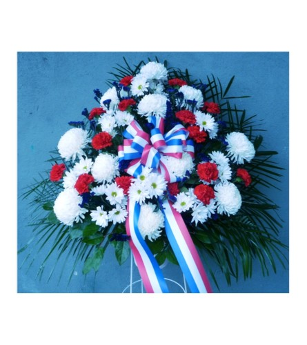 FUNERAL BASKET- RED, WHITE, AND BLUE