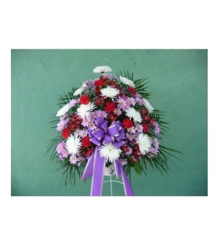 STANDING BASKET- RED, PURPLE, AND WHITE