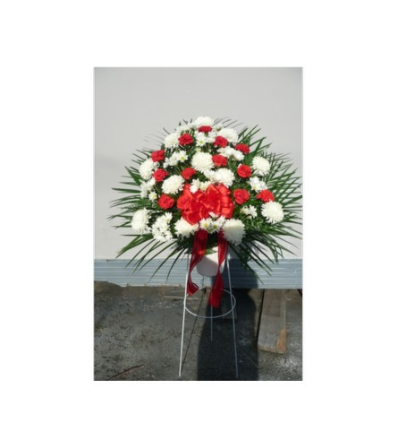 A RED&WHITE STANDING BASKET