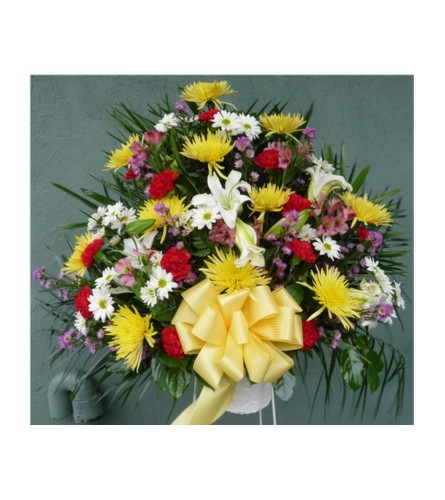FUNERAL BASKET-RED, YELLOW, WHITE, PURPLE & PINK