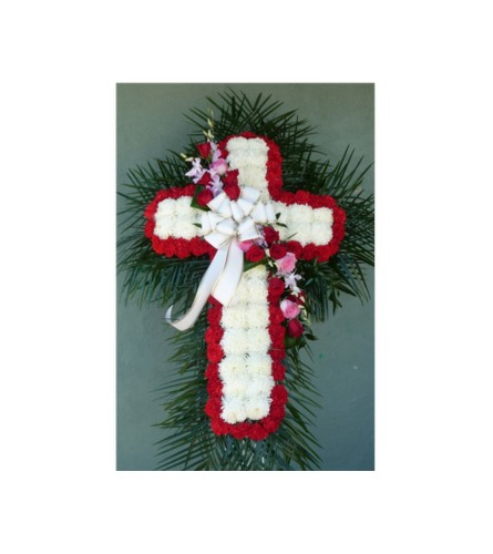 MUM CROSS WITH RED CARNATIONS & ROSE/ORCHID BREAK
