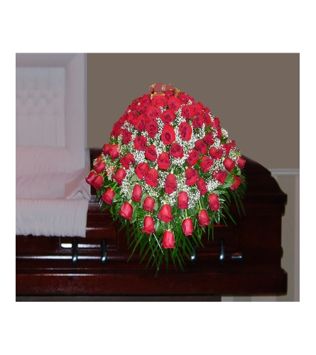 THE RED ROSES AND BABIES BREATH CASKET SPRAY