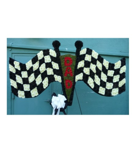 CUSTOM TWO RACING FINISH FLAGS FOR DAD