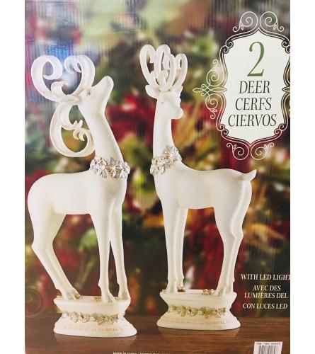 Elegant Pair of Deer with LED Lights