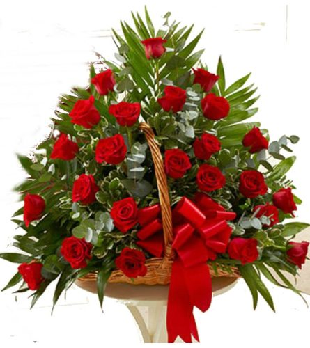 willow fireside basket Red Roses
