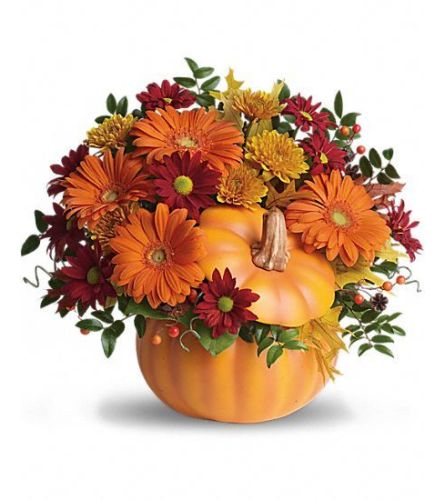 FALL MIX OF FLOWERS IN CERAMIC PUMPKIN