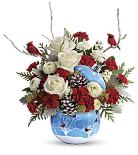 Cardinal Snow Ornament