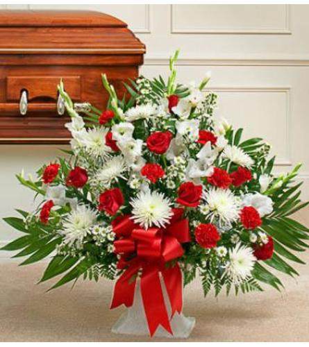 Red and White Tribute Floor basket