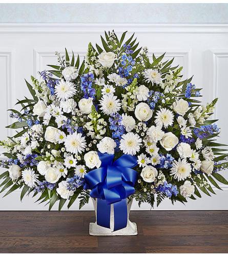 Heartfelt Tribute Floor Basket- Blue & White XL
