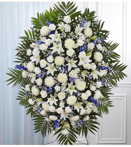 The Blue and White Sympathy Standing Spray