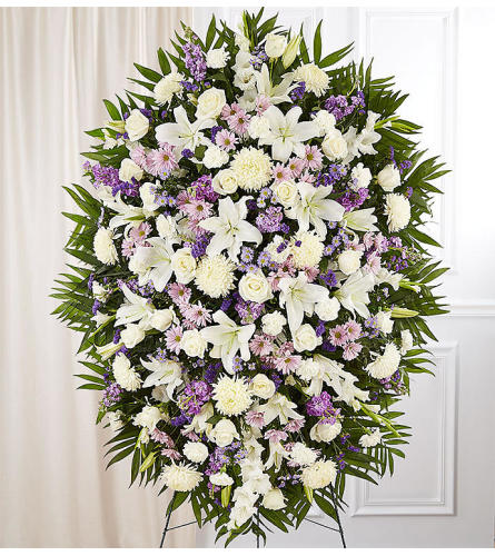 The Lavender and White Sympathy Standing Spray XL