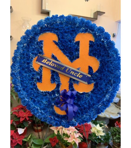 NY Mets Tribute flower spray. (Please call for availability)