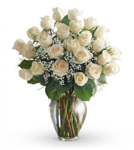 24 WHITE ROSES ARRANGED