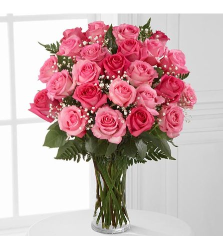 24 PINK ROSES ARRANGED