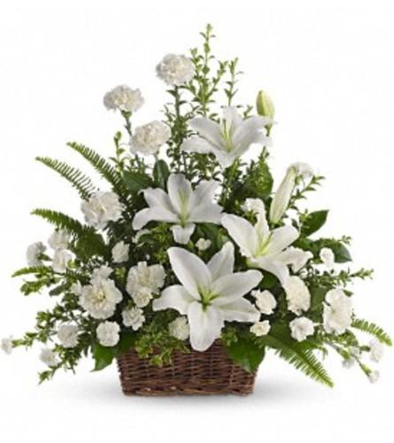 Teleflora Peaceful White Lilies Basket