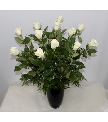 Dozen White Long Stem Roses