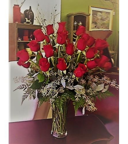 2 dozen Red Freedom Roses Designed