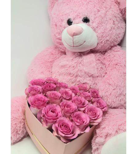 Roses in a Box & a Teddy Bear