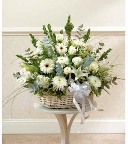 Three-Sided Arrangement of Assorted white Flowers in Low basket