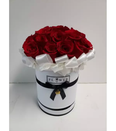 Red Roses In White Couture Box
