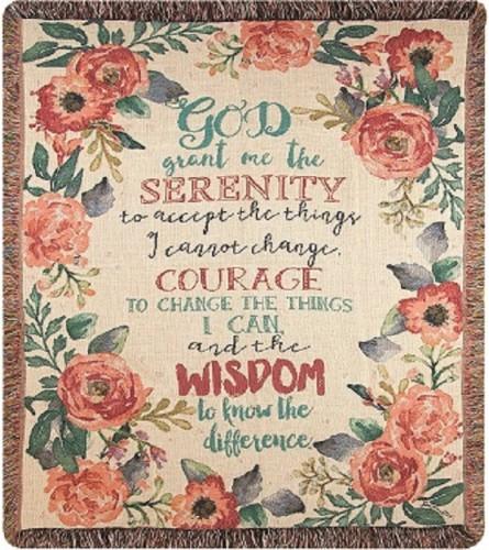 Tapestry Throw - Serenity Prayer Floral