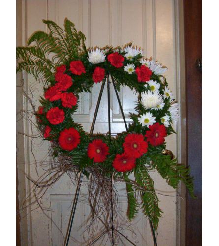Red and White Wreath Spray