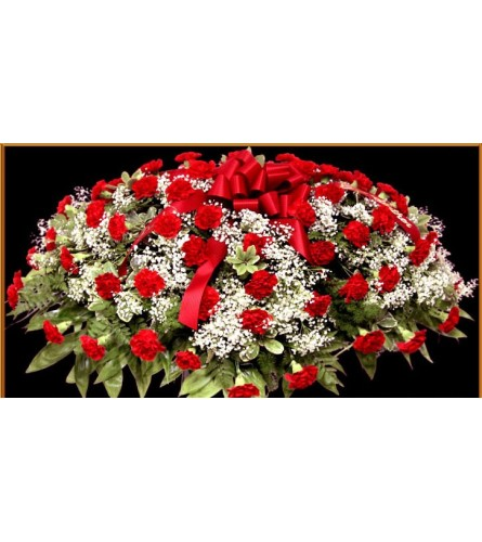 Red Carnation Half Casket Spray