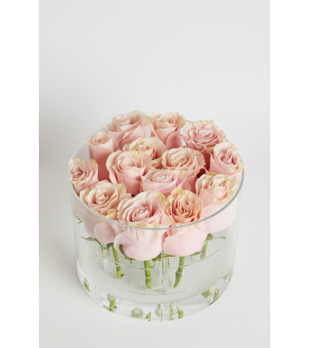 Acrylic Box round 15 Roses