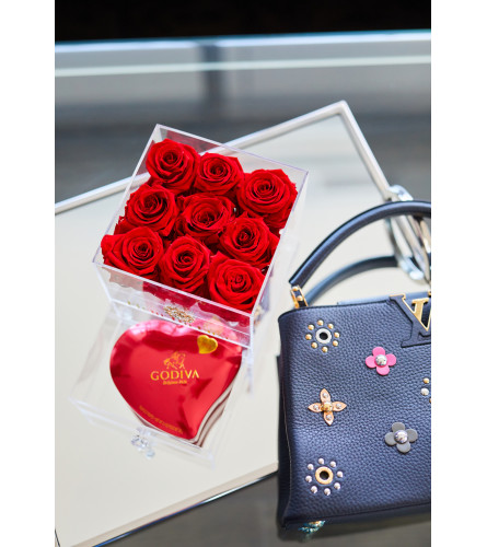 Acrylic Box square 9 Roses drawer