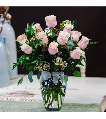 12 Premium pink roses in a vase