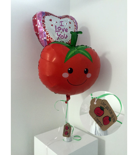 """Love you from my head TOMATOES"" Valentine's Day balloon set"