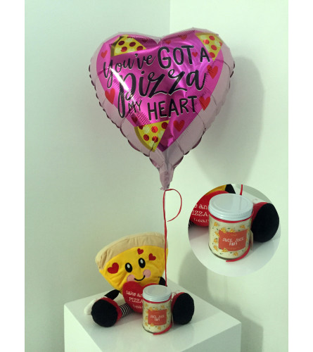 """You've got a PIZZA my heart"" Valentine's Day balloon set"