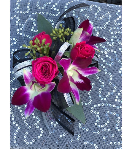 Prom Orchid and Rose Corsage