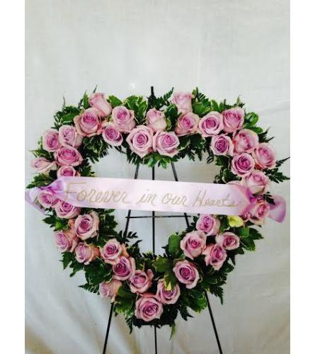Lavender Roses Open Heart - Deluxe Shown (banner not included)