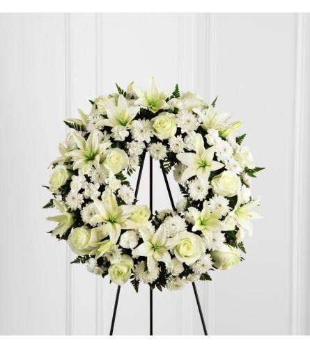 FTD Treasured Tribute Wreath - white