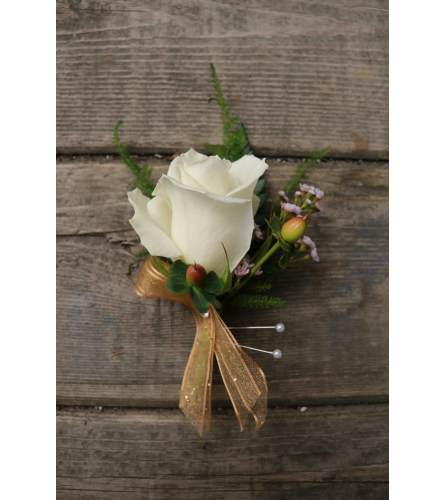 White/Red Rose Boutonnière