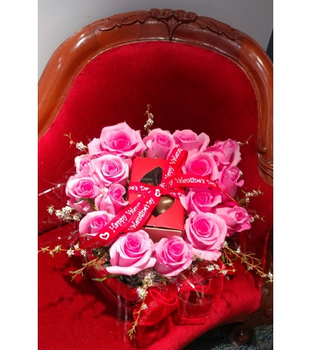 Pink Roses in Red heart box, with Gosanko Truffles