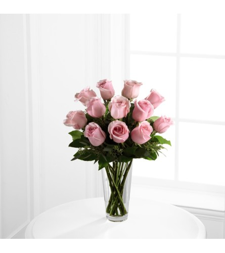 Long Stem Pink Rose Bouquet One Dozen