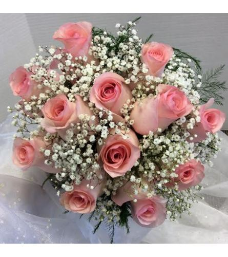 Prom BVP8 - 12 Rose Bouquet with Babies Breath (pick up only)