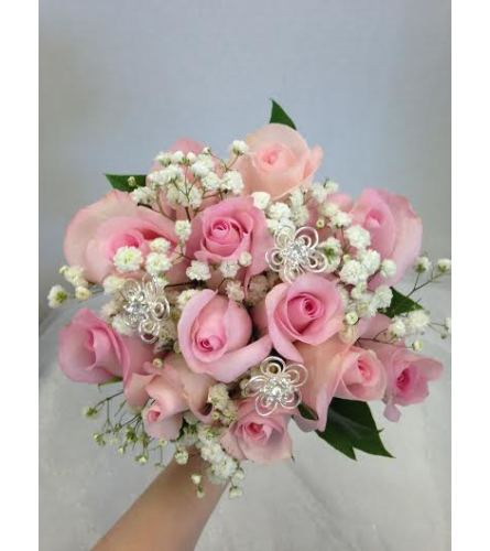 Prom BVP3 - 12 Rose Bouquet w/ rhinestone accents (pick up only)