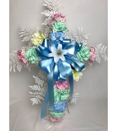 Silk Cross for Grave (Pastel Colors
