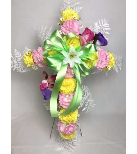 Silk Cross for Grave (Mixed Colors)