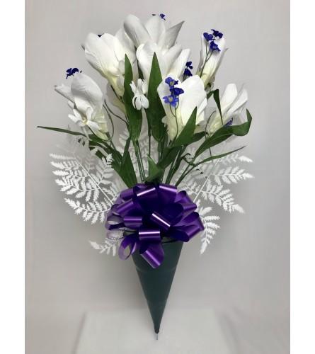 Silk Bouquet for Grave (White)