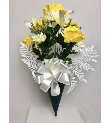 Silk Bouquet for Grave (Yellow)